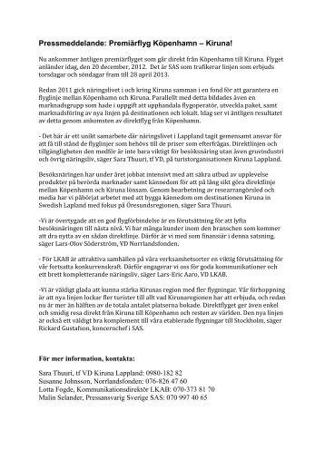 Pressmeddelande: Premiärflyg Köpenhamn – Kiruna!