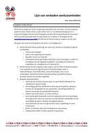 Lijst van verboden werkzaamheden - Zuiddag