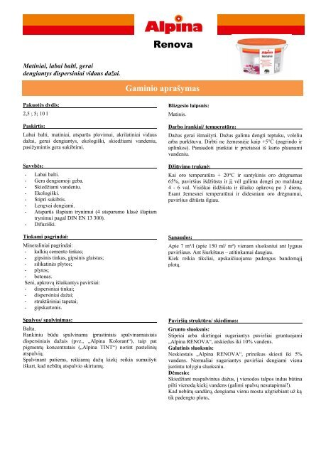 Techninė informacija - Srava