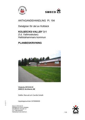 Planhandlingar Vallmoskolan - Hallstahammar