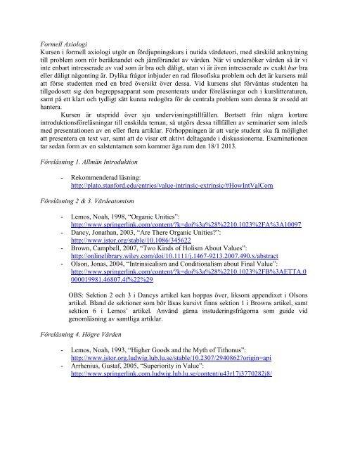 Kursbeskrivning & Litteraturlista