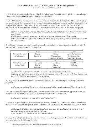 LA GEOLOGIE DE L'ÎLE DE GROIX (« L'île aux grenats »)
