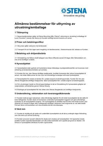 Allmänna bestämmelser för uthyrning av utrustning/emballage