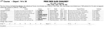 1ère Course – Départ : 14 h. 00 PRIX DES ILES CHAUSEY
