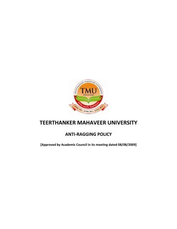 Anti Ragging Policy - Tmu.ac.in