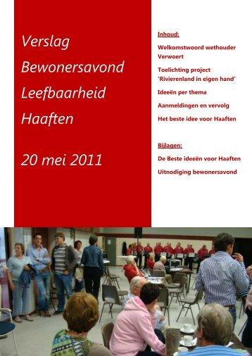 Verslag Bewonersavond Leefbaarheid Haaften 20 ... - VKK Gelderland