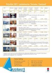 Prijslijst 2011 jachtcharter Yerseke, Zeeland - Worldnautic.com