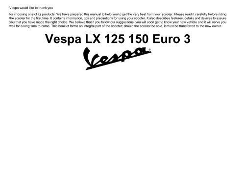 Vespa LX150 scooter owners manual download - Scooters in San