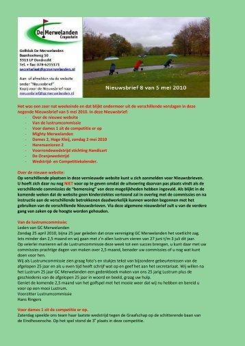 De volledige Nieuwsbrief vindt u hier - De Merwelanden, Golfclub