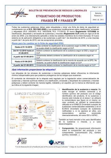 ETIQUETADO DE PRODUCTOS: FRASES H Y FRASES P