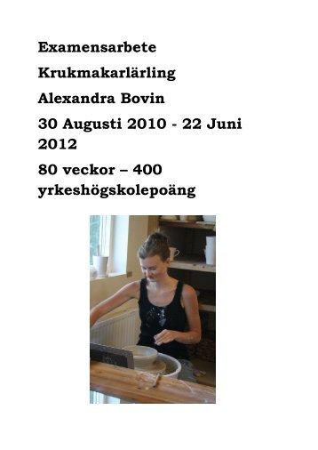 Examensarbete Krukmakarlärling Alexandra Bovin 30 ... - iFokus