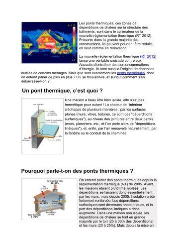 Etude sur la rupture des ponts thermiques dans les dimension - C est quoi un pont thermique ...