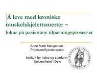 Å leve med kroniske muskelskjelettsmerter - Norsk smerteforening