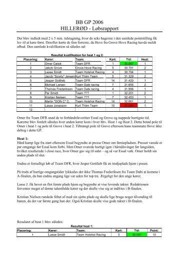 BB GP 2006 HILLERØD - Løbsrapport