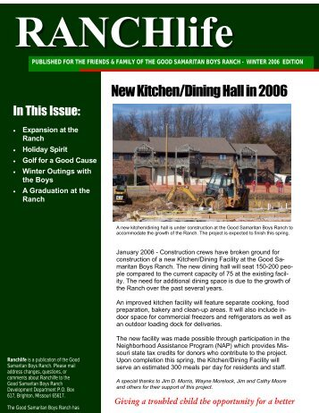 RANCHlife Newsletter – Winter 2006 - Good Samaritan Boys Ranch