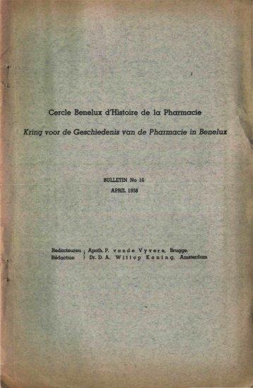 1958-016 GESCHIEDENIS/HISTOIRE PHARMACIE - Kring voor de ...
