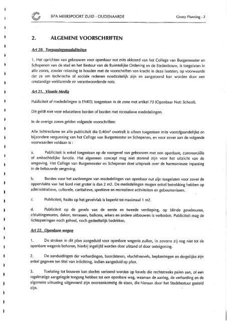 Stedenbouwkundige voorschriften - Stad Oudenaarde