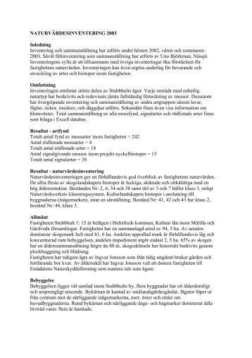 NATURVÄRDESINVENTERING 2003 Inledning ... - Stubbhult