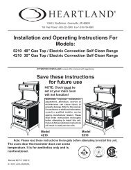 Installation and Operating Instructions For Models - Heartland ...