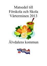 Matsedel till Förskola och Skola Vårterminen 2013 Älvdalens kommun