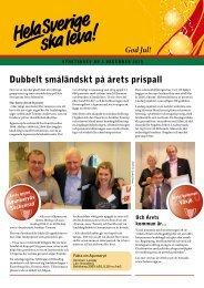 Dubbelt småländskt på årets prispall - Hela Sverige ska leva