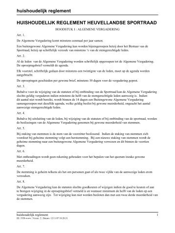 huishoudelijk reglement HUISHOUDELIJK REGLEMENT ...