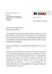 Brief an BM Dr. Thomas de Maizière - CDU-Kreisverband Bonn
