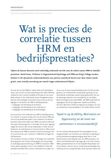 Wat is precies de correlatie tussen HRM en ... - HR Strategie