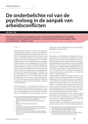 De onderbelichte rol van de psycholoog in de aanpak van ... - NIP
