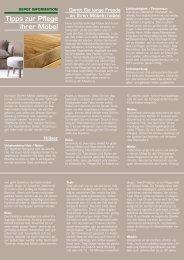 Tipps zur Pflege ihrer Möbel - Depot