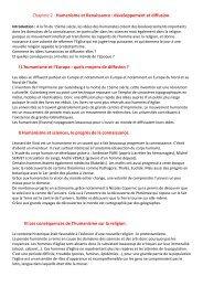 Chapitre 2 : Humanisme et Renaissance : développement et ...