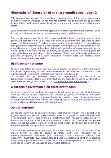 Nieuwsbrief 'Energie- of mantra-meditaties', deel 2