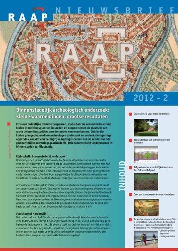 N I E U W S B R I E F 2012 - 2 - RAAP Archeologisch Adviesbureau