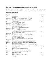 FY 3002 : Kvantmekanik med numeriska metoder