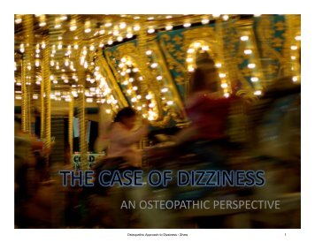 THE CASE OF DIZZINESS - American Academy of Osteopathy
