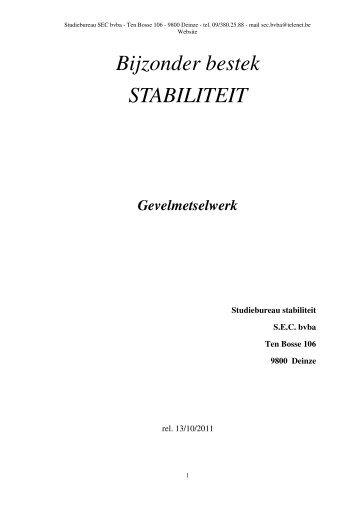Bijzonder bestek STABILITEIT - SEC bvba