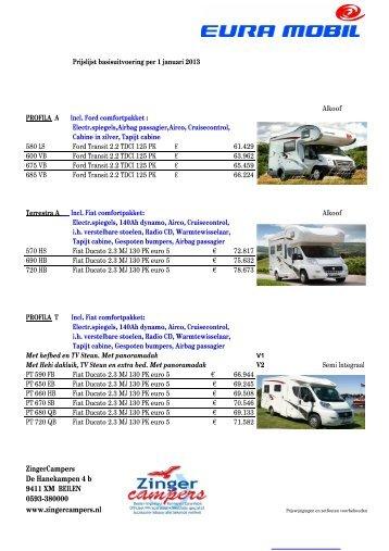 Prijslijst eura mobil basis 2013 - Zinger campers