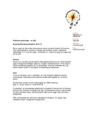 Praktiske oplysninger – en ABC Brejning Efterskole,Skoleåret 2012 ...