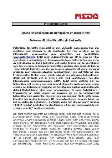 Online-undersökning om behandling av allergisk rinit - Azelastine.info