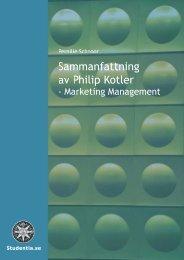 Sammanfattning av Philip Kotler - Marketing Management - MiG