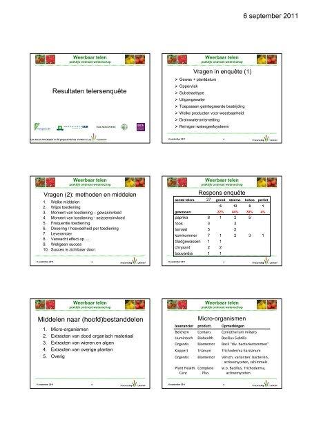 Presentatie resultaten telersenquête - DLV Plant