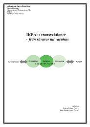 IKEA: s transvektioner - från råvaror till varuhus - Ekonomihögskolan ...