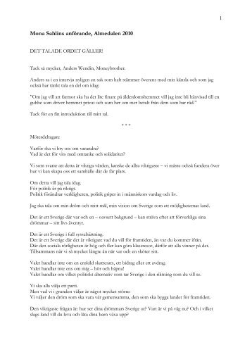 Ladda ner hela talet här. (PDF) - Socialdemokraterna