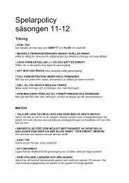 Spelarpolicy säsongen 11-12 - Svenskalag.se
