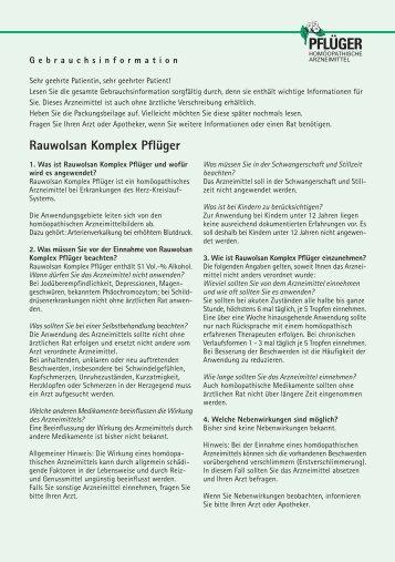 Rauwolsan Komplex Pflüger - Homöopathisches Laboratorium A ...