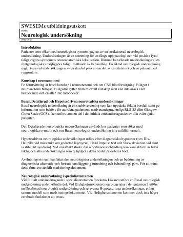 Neurologisk undersökning - swesem