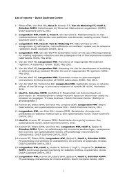 List of reports – Dutch Cochrane Centre 1. Elbers GMH, Van Enst ...