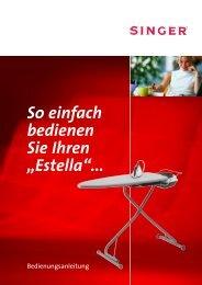 Anleitungsbuch Bügeltisch Singer Estella 17.01