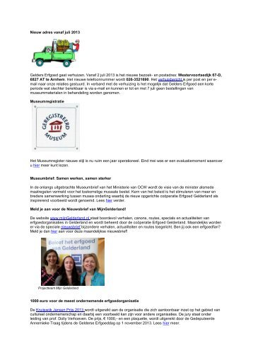 Nieuwsbrief Zomer 2013.pdf - Gelders Erfgoed