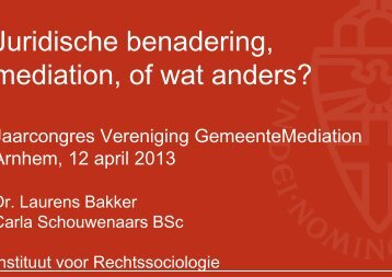 De presentatie over Judische benadering, mediation of wat anders ...